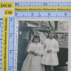 Postales: FOTO POSTAL DE MELILLA. AÑOS 30 50. NIÑAS EN DÍA DE PRIMERA COMUNIÓN, PLAZA MENÉNDEZ PELAYO. Lote 52773935
