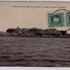 Postales: 1 CAMPAÑA DE MELILLA 1909 VISTA GENERAL DE MELILLA. CIRCULADA.. Lote 52962419