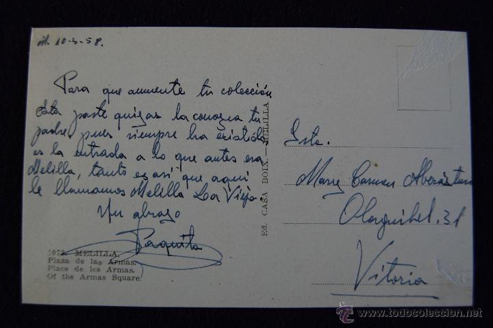 Postales: POSTAL DE MELILLA. Nº1073 PLAZA DE LAS ARMAS. AÑOS 50. - Foto 2 - 53047140