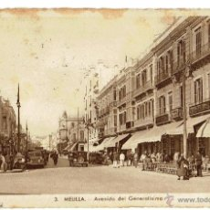 Postales: PS5815 MELILLA 'AVENIDA DEL GENERALÍSIMO'. L. ROISIN. CIRCULADA 1943. Lote 49222440