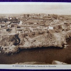 Postales: POSTAL DE MELILLA. Nº24 ACANTILADOS Y BARRIO DE LA ALCAZABA. EDITADA POR ROISIN. AÑOS 30.. Lote 55688017