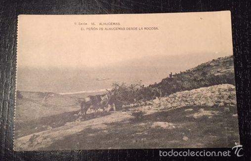 ANTIGUA POSTAL DE ALHUCEMAS - EL PEÑON DE ALHUCEMAS DESDE LAS ROCOSAS - MELILLA - HAUSER Y MENET (Postales - España - Melilla Antigua (hasta 1939))