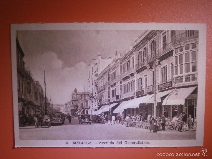 POSTAL - ESPAÑA - MELILLA - 3 AVD. DE GENERALÍSIMO - L. ROISIN - SIN USO - (Postales - España - Melilla Antigua (hasta 1939))