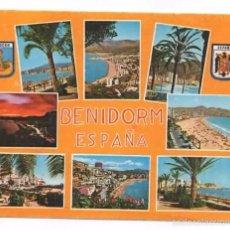 Postales: BENIDORM. ALICANTE. VARIAS VISTAS. ESCUDO DE ESPAÑA PRECONSTITUCIONAL. Lote 60026447