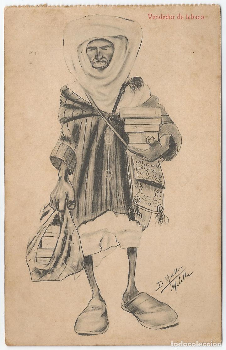 MELILLA, ILUSTRADOR: MULLOR - POSTAL HUMORISTICA, VENDEDOR DE TABACO - EDICION BOIX HERMANOS - S/C (Postales - España - Melilla Antigua (hasta 1939))