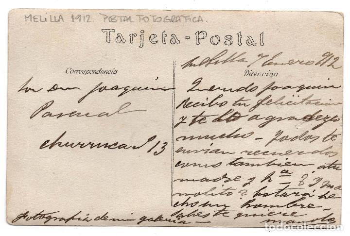 Postales: FOTOGRAFÍA POSTAL MELILLA 1912 - ANCIANO CON ROPAS TÍPICAS TUAREG - Foto 2 - 86438296