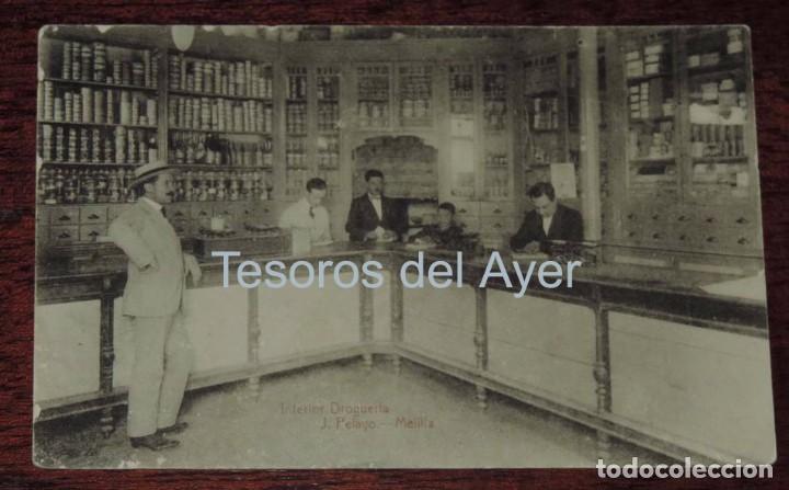 POSTAL DE MELILLA, INTERIOR DROGUERIA IRIS, J. PELAYO, NO CIRCULADA. (Postales - España - Melilla Antigua (hasta 1939))