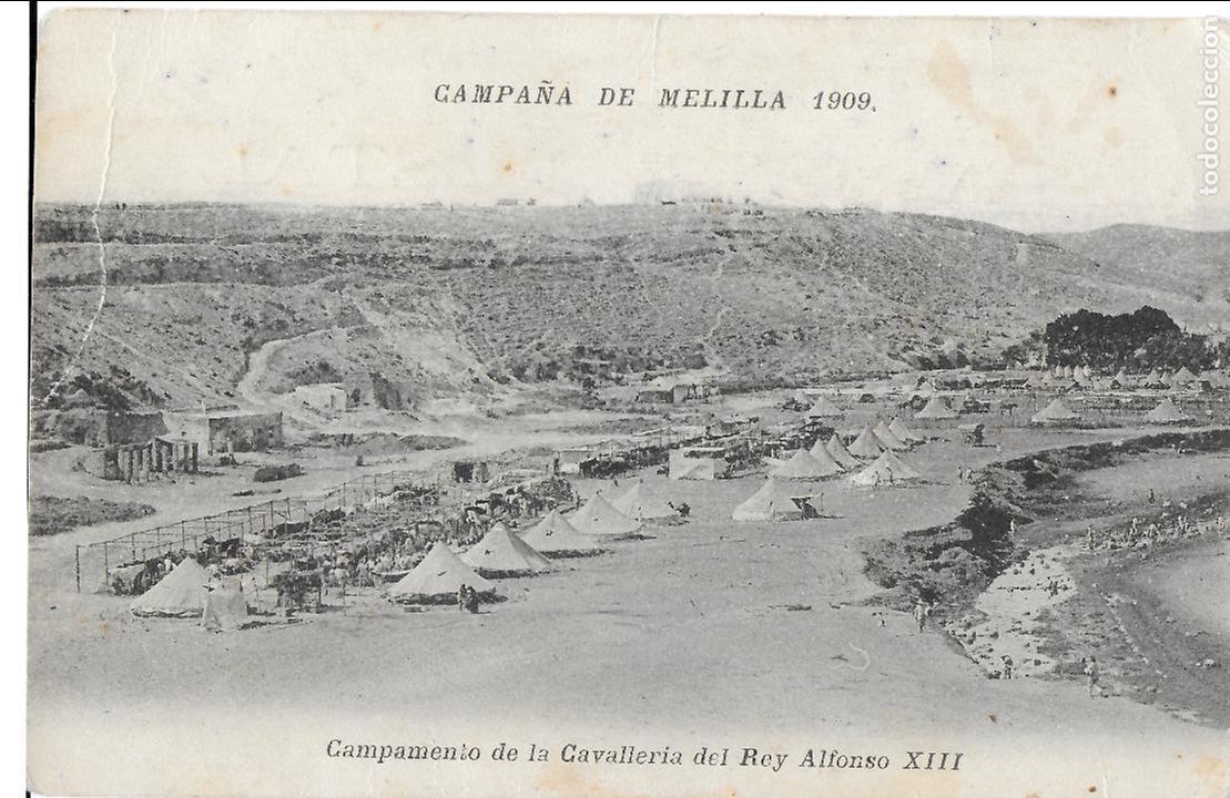 P- 6972. POSTAL CAMPAÑA DE MELILLA 1909. CAMPAMENTO DE LA CAVALLERIA REY ALFONSO XIII. (Postales - España - Melilla Antigua (hasta 1939))