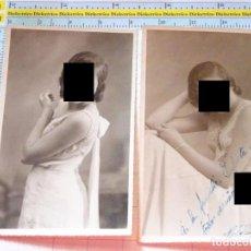Cartoline: 2 FOTOS FOTOGRAFÍAS DE ESTUDIO. MUJER JOVEN. AÑO 1932. MELILLA. 1646. Lote 100404691