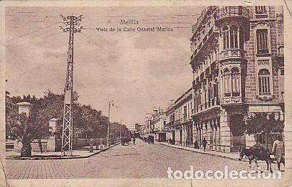 POSTAL MELILLA VISTA DE LA CALLE GENERAL MARINA (Postales - España - Melilla Antigua (hasta 1939))