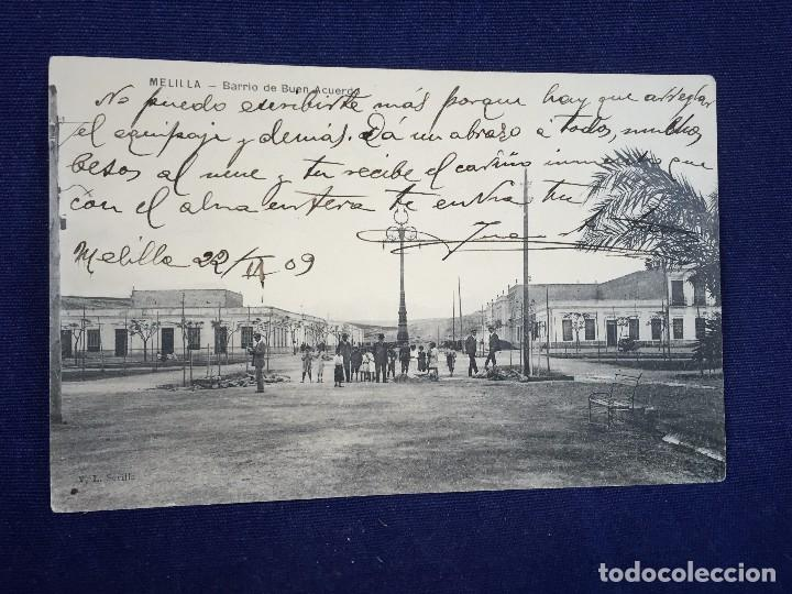 MELILLA BARRIO DE BUEN ACUERDO CIRCULADA 22/2/1909 (Postales - España - Melilla Antigua (hasta 1939))