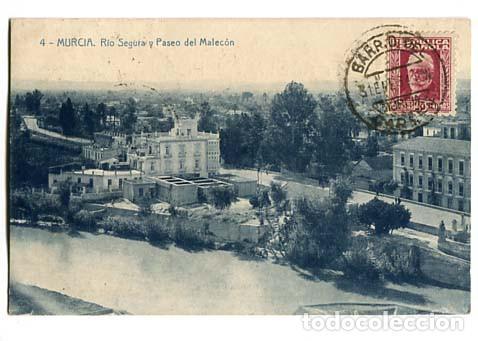 MURCIA RIO SEGURA Y PASEO DEL MALECON. ED. ROMERO FOTOTIPIA THOMAS. CIRCULADA (Postales - España - Melilla Antigua (hasta 1939))