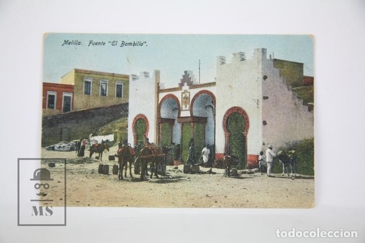 ANTIGUA POSTAL EN COLOR - MELILLA, FUENTE EL BOMBILLO - ED. BOIX HERMANOS , AÑOS 30 - CIRCULADA (Postales - España - Melilla Antigua (hasta 1939))