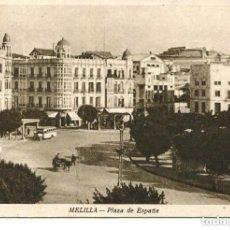 Postales: MELILLA--PLZA DE ESPAÑA-AUTOBUSES. 1951. Lote 117033127