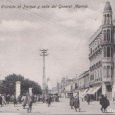Postales: MELILLA - ENTRADA AL PARQUE Y CALLE DEL GENERAL MARINA. Lote 125090203