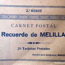 Postales: P-8406. MELILLA. CUADERNO DE 20 POSTALES RECUERDO DE MELILLA. PPIO. AÑOS 30.BOIX HERMANOS. 2ª SERIE. Lote 127663007