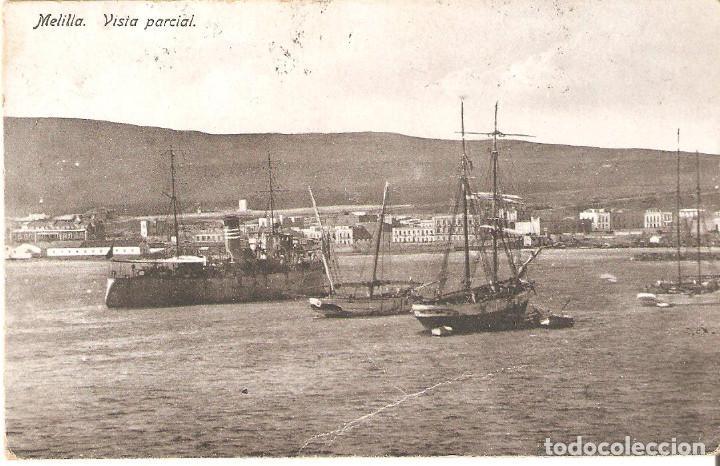 POSTAL MELILLA. VISTA PARCIAL. CENSURA MILITAR. (Postales - España - Melilla Antigua (hasta 1939))