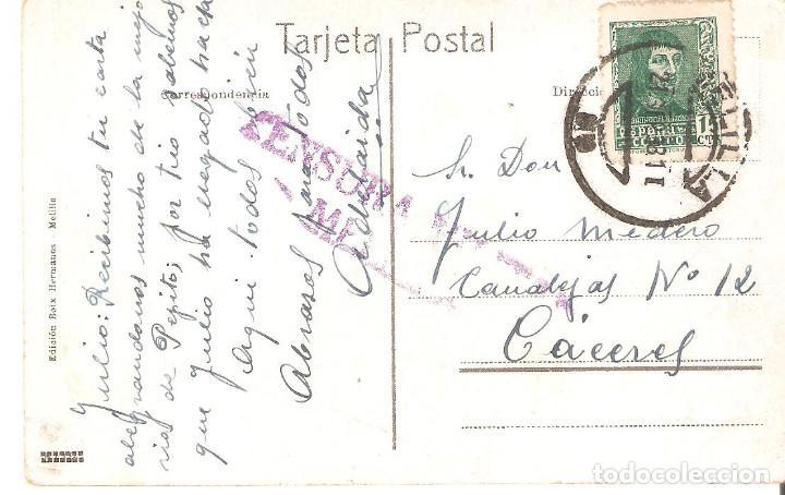 Postales: Postal Melilla. Vista parcial. Censura militar. - Foto 2 - 132905022