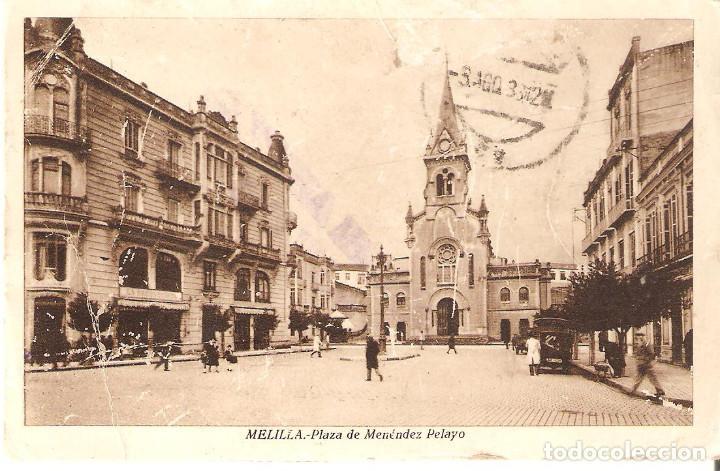 POSTAL MELILLA. PLAZA DE MENÉNDEZ PELAYO. 1939. (Postales - España - Melilla Antigua (hasta 1939))