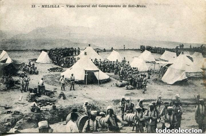 MELILLA-VISTA GENERAL DEL CAMPAMENTO DE SIDI-MUZA - MUY RARA (Postales - España - Melilla Antigua (hasta 1939))