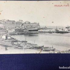 Postales: MELILLA POSTAL PUERTO 1912 INSCRITA CASTAÑEIRA. Lote 141935606