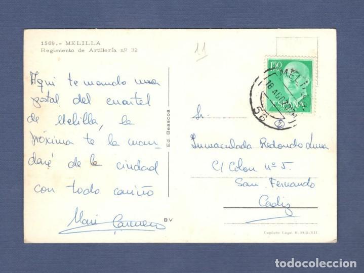 Postales: POSTAL: 1569 MELILLA. REGIMIENTO DE ARTILLERÍA Nº 32 - CIRCULADA Y ESCRITA - Foto 2 - 147922878
