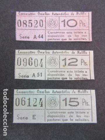 COOPERATIVA OMNIBUS DE AUTOMOVILES DE MELILLA 3 BILLETES DIFERENTES (Postales - España - Melilla Moderna (desde 1940))