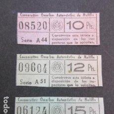 Postales: COOPERATIVA OMNIBUS DE AUTOMOVILES DE MELILLA 3 BILLETES DIFERENTES. Lote 151402754