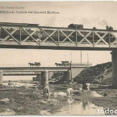 Postales: POSTAL MELILLA PUENTE DEL GENERAL MARINA TREN LOCOMOTORA ED. POSTAL EXPRES FOTOTIPIA HAUSER MENET. Lote 156174754