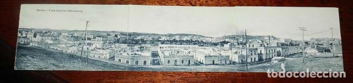 POSTAL TRIPLE DE MELILLA, VISTA GENERAL PANORAMICA, EXCLUSIVA CABRERA, NO CIRCULADA. (Postales - España - Melilla Antigua (hasta 1939))
