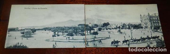 POSTAL DOBLE DE MELILLA, PLAZA DE ESPAÑA, EXCLUSIVA CABRERA, NO CIRCULADA. ESTAN SEPARADAS. (Postales - España - Melilla Antigua (hasta 1939))