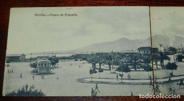 Postales: POSTAL DOBLE DE MELILLA, PLAZA DE ESPAÑA, EXCLUSIVA CABRERA, NO CIRCULADA. ESTAN SEPARADAS. - Foto 2 - 157663066