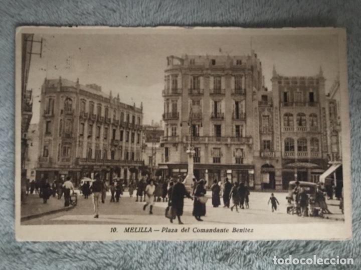 ANTIGUA POSTAL MELILLA PLAZA COMANDANTE BENÍTEZ 10 (Postales - España - Melilla Moderna (desde 1940))