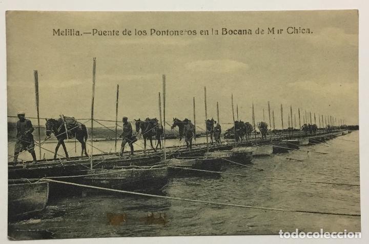 MELILLA. PUENTE DE LOS PONTONEROS EN LA BOCANA DE MAR CHICA. (ED. EXCLUSIVA CABRERA) (Postales - España - Melilla Antigua (hasta 1939))