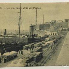 Postales: MELILLA. LOS MUELLES Y VISTA DEL PUEBLO. (ED. EXCLUSIVA CABRERA). Lote 160337158