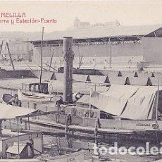 Postales: MELILLA - MUELLE BECERRA Y ESTACION-PUERTO. Lote 175162270