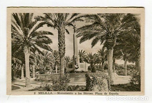 MELILLA MONUMENTO A LOS HEROES PLAZA ESPAÑA N 8 L. ROISIN SIN ESCRIBIR VER IMAGENES DOS CARAS (Postales - España - Melilla Moderna (desde 1940))