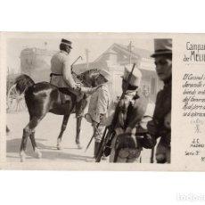 Postales: CAMPAÑA DE MELILLA.- EL CORONEL PAEZ JARAMILLO. RECIBIENDO ORDENES DEL GENERAL. FOTOGRÁFICA. Lote 178562191
