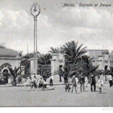 Postales: POSTAL DE MELILLA - ENTRADA AL PARQUE HERNANDEZ. Lote 178600952