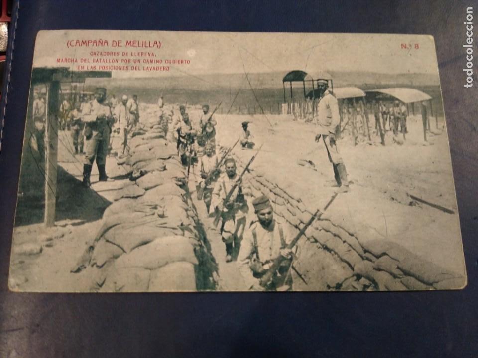 CAMPAÑA DE MELILLA. CAZADORES DE LLERENA, MARCHA DEL BATALLÓN EN LAS POSICIONES ... N° 8 THOMAS ABC (Postales - España - Melilla Antigua (hasta 1939))