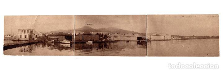 MELILLA.- AVIACIÓN MILITAR. BASE DE HIDROS DEL ATALAYON. TRIPLE FOTOGRÁFICA. (Postales - España - Melilla Antigua (hasta 1939))