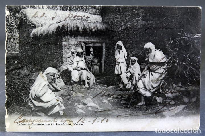 POSTAL FOTOGRÁFICA MELILLA CAMPAMENTO FAMILIA ÁRABES D BENCHIMOL ESCRITA 1910 (Postales - España - Melilla Antigua (hasta 1939))