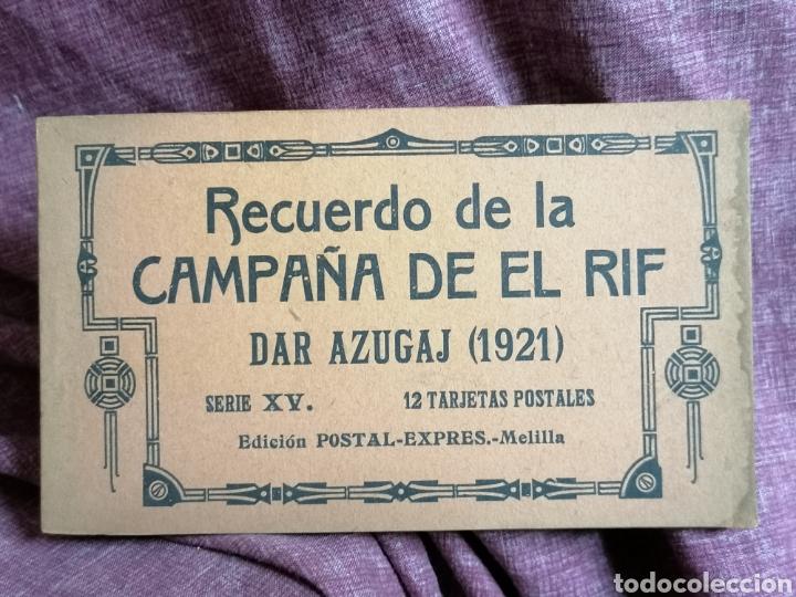 BLOCK COMPLETO DE 12 POSTALES RECUERDO DE LA CAMPAÑA DEL RIF DAR AZUGAJ 1921 (Postales - España - Melilla Antigua (hasta 1939))