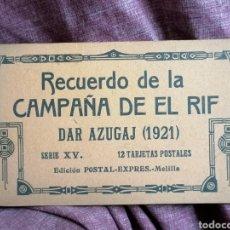Postales: BLOCK COMPLETO DE 12 POSTALES RECUERDO DE LA CAMPAÑA DEL RIF DAR AZUGAJ 1921. Lote 193957895