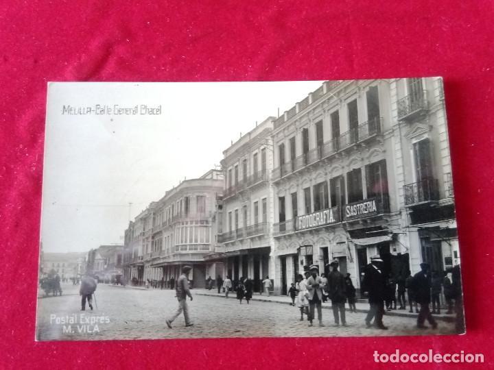 W.- 25.- POSTAL FOTOGRAFICA DE-- MELILLA .- CALLE GENERAL CHACEL.- POSTAL EXPRES -M. VILA CIRCULADA (Postales - España - Melilla Antigua (hasta 1939))