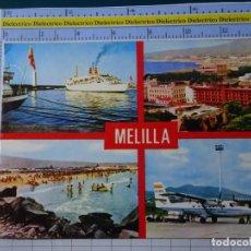 Cartes Postales: POSTAL DE MELILLA. AÑO 1978. AEROPUERTO AVIÓN SPANTAX, BARCO TRASMEDITERRANEA. HIPICA. 98. Lote 195243545