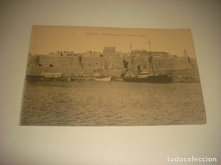 MELILLA , VISTA DEL PUERTO Y PUEBLO ANTIGUO . ED. BOIX HERMANOS, SIN CIRCULAR. (Postales - España - Melilla Antigua (hasta 1939))
