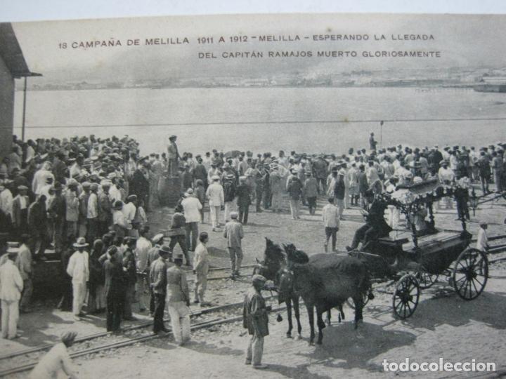 Postales: MELILLA-ESPERANDO LA LLEGADA DEL CAPITAN RAMAJOS MUERTO-ED·RIF-18-POSTAL ANTIGUA-(69.348) - Foto 3 - 202569508