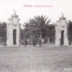 Postales: MELILLA ENTRADA AL PARQUE. HERNÁNDEZ. EDIC. BOIX HERMANOS. MELILLA. Lote 203527001