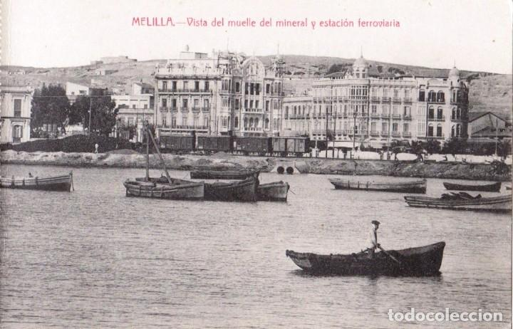 MELILLA. VISTA DEL MUELLE DEL MINERAL Y ESTACIÓN FERROVIARIA. EDIC. BOIX HERMANOS. MELILLA (Postales - España - Melilla Antigua (hasta 1939))